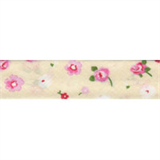 Cotton Bias Binding - 20mm - Floral Print  Cream/Pink  25mtrs