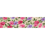 Cotton Bias Binding - 20mm - Floral Print Pink/Cream/Green- 25mtrs