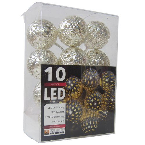 LED Silver Metal Ball String Lights Large  - 10