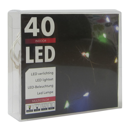 LED  String Chain Fairy Lights  MULTICOLOUR with Silver Wire - 40 Micro LEDs  2mtr length