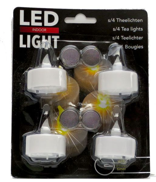 LED Tea Lights - Battery powered Flame-less - With Timer Function - 4 Pack