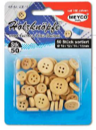 Wooden Buttons x 50 - (Item No: 405-15)
