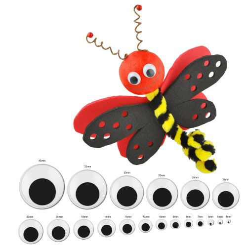 We supply moving wobbly googly eyes in a range of sizes that can be stuck on your project