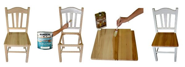 we sell assembled chairs for you to paint and stain decorate to your own style