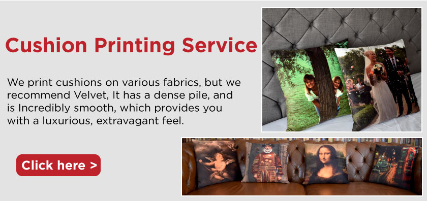 we print cushions onto velvet and linen using your designs artwork and files